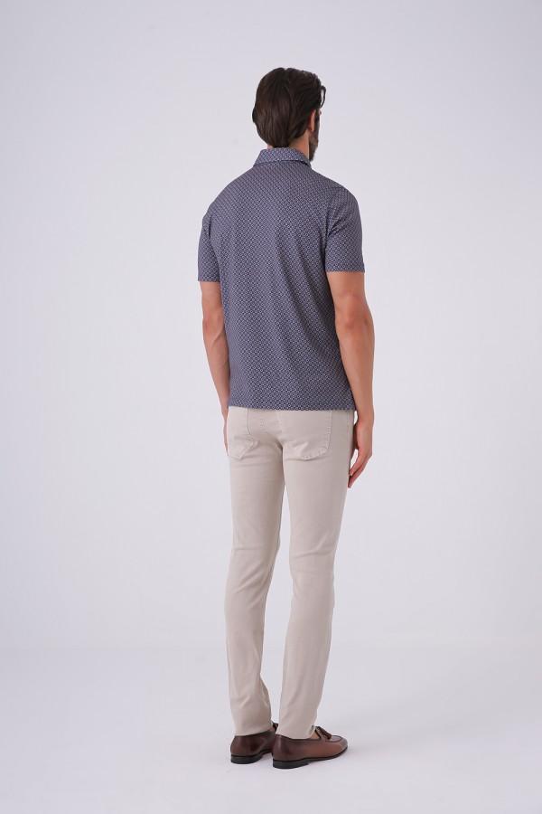 3 Düğmeli Polo Yaka Desenli Tshirt