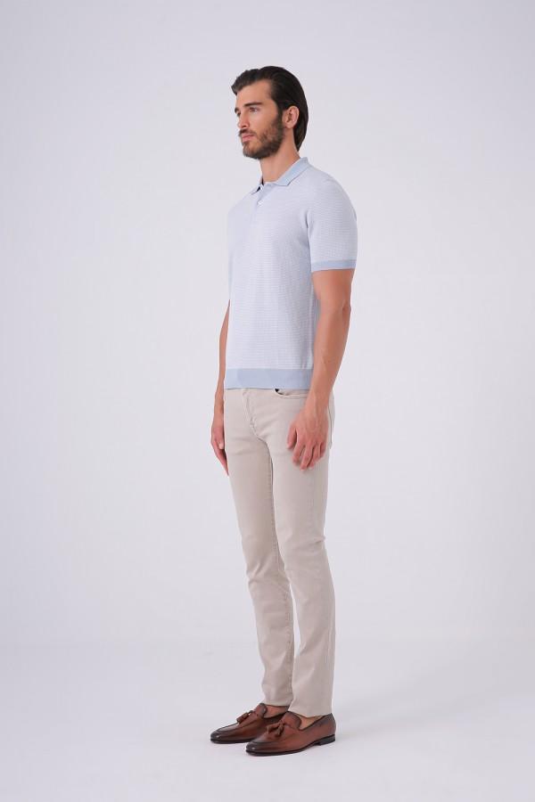 3 Düğme Polo Yaka Triko Tshirt Beyaz Yaka Detaylı