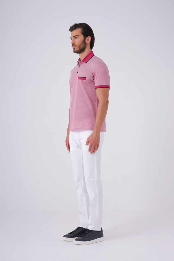 Düğmeli Polo Yaka Cepli Tshirt