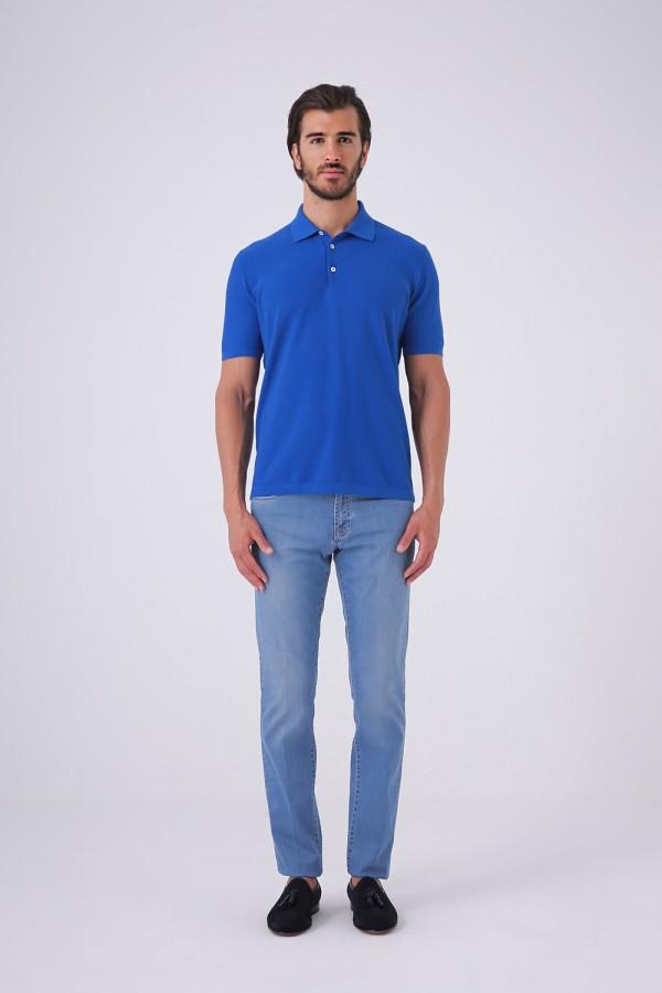 Oxford Doku 3 Düğme Polo Yaka Mavi Renk Tshirt