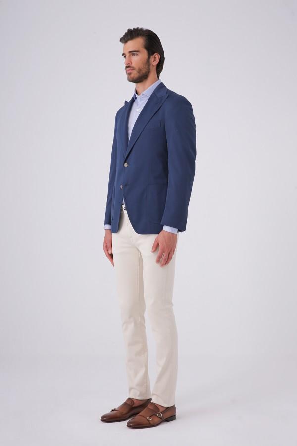 7 Drop Mono Yaka Iki Düğme Çift Yırtmaç Napolitan Ceket