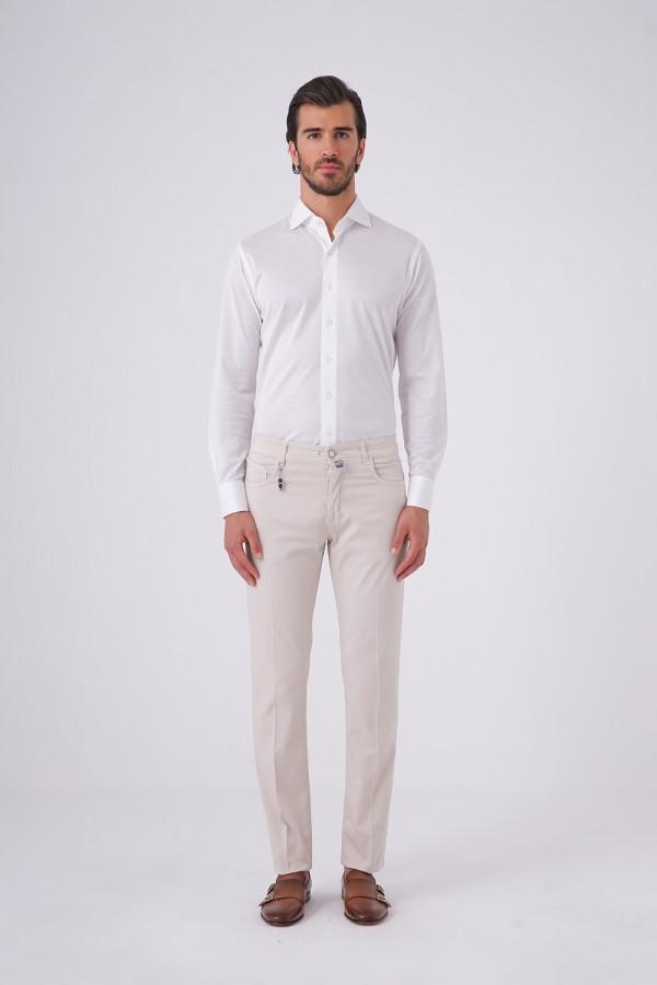 Önü Düğmeli Beş Cepli Cotton Pantolon