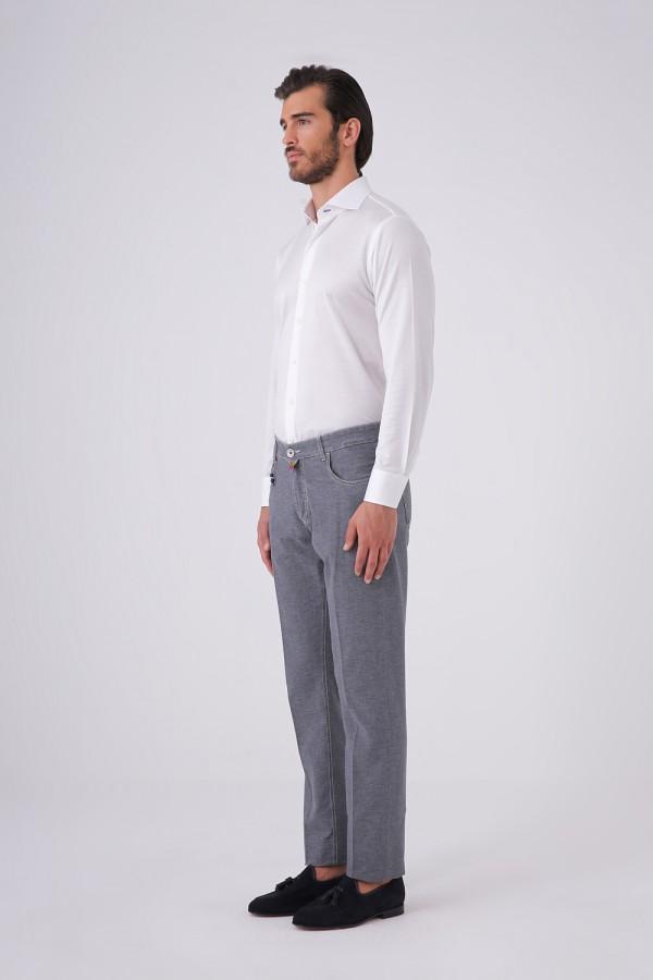 Önü Düğmeli Jean Kesim Beş Cepli Cotton Pantolon