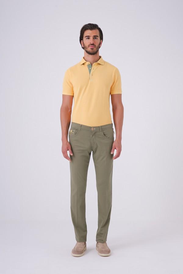 Yeşil Renk Jean Kesim Pantolon