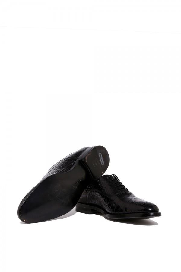 Crocodile Deri Bağcıklık Klasik Ayakkabı