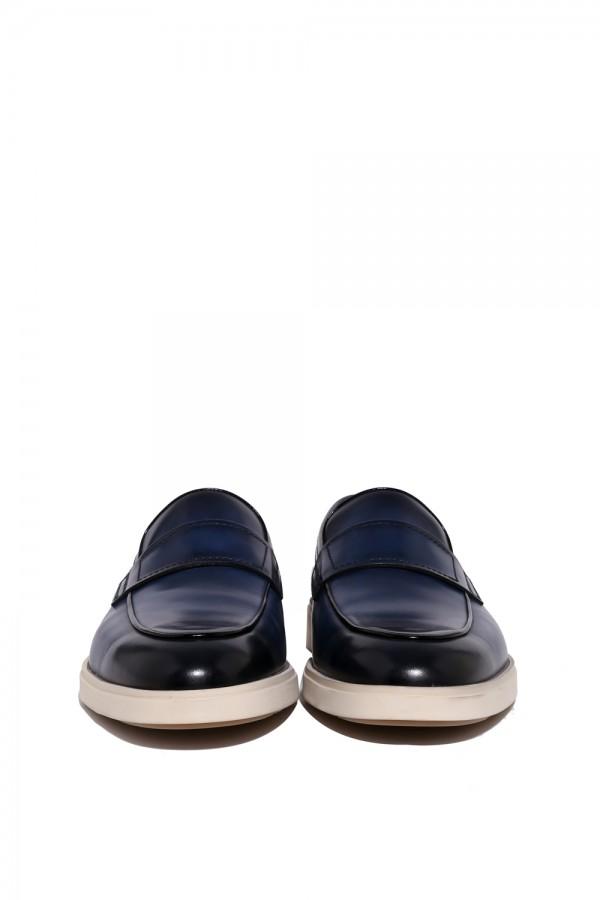 Deri Lacivert Sneakers