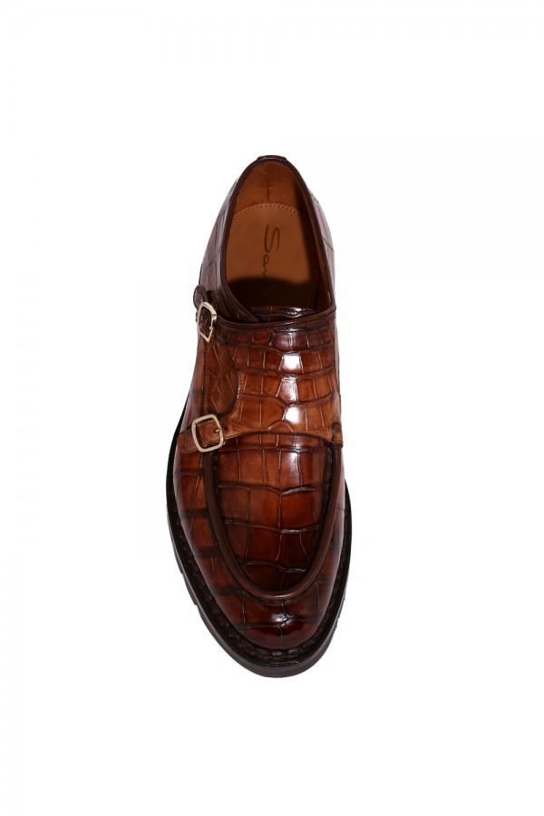 Crocodille Deri Çift Tokalı Klasik Ayakkabı