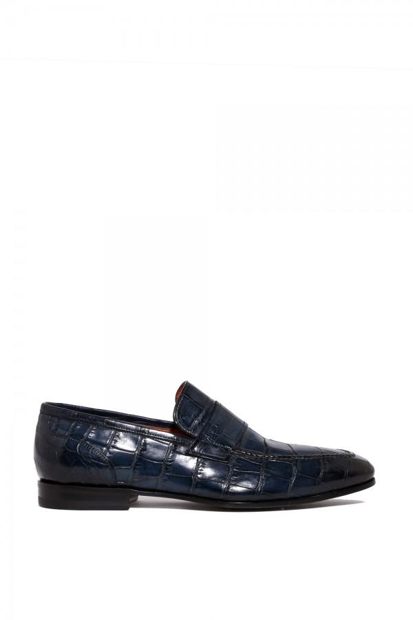 Crocodille Deri Lacivert Klasik Ayakkabı