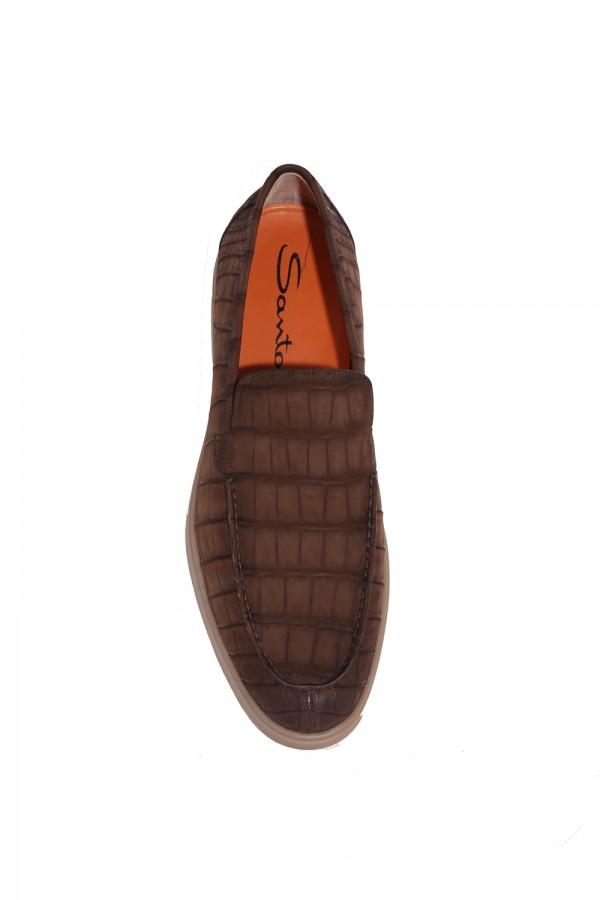 Crocodile Deri Nubuk Loafer