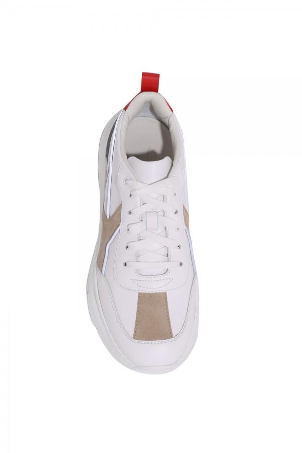 Deri Bağcıklı Sneakers