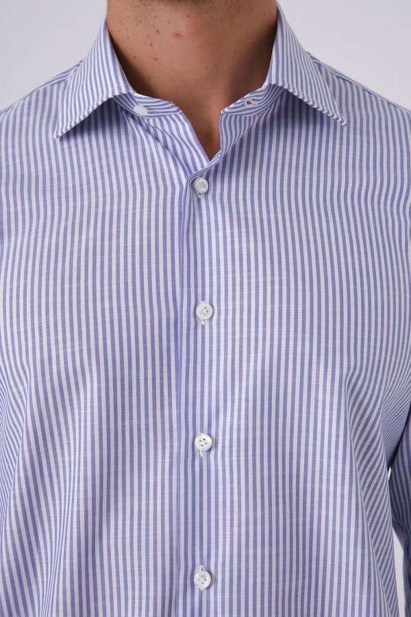 İtalyan Yaka Napolitan mavi çizgili Gömlek