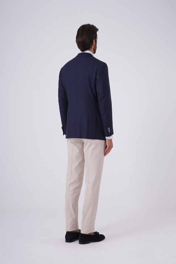 7 Drop Mono Yaka 2 Düğme Çift Yırtmaç Napolitan Ceket