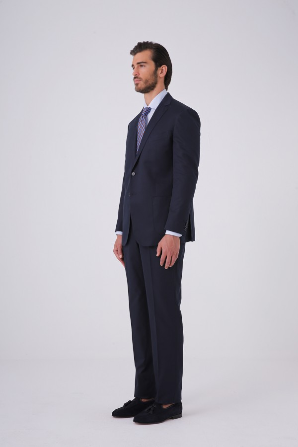 7 Drop 2 Düğme Çift Yırtmaç Takım Elbise Lacivert