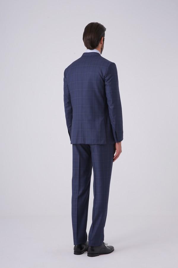 7 Drop 6 Düğme Kruvaze Napolitan Takım Elbise