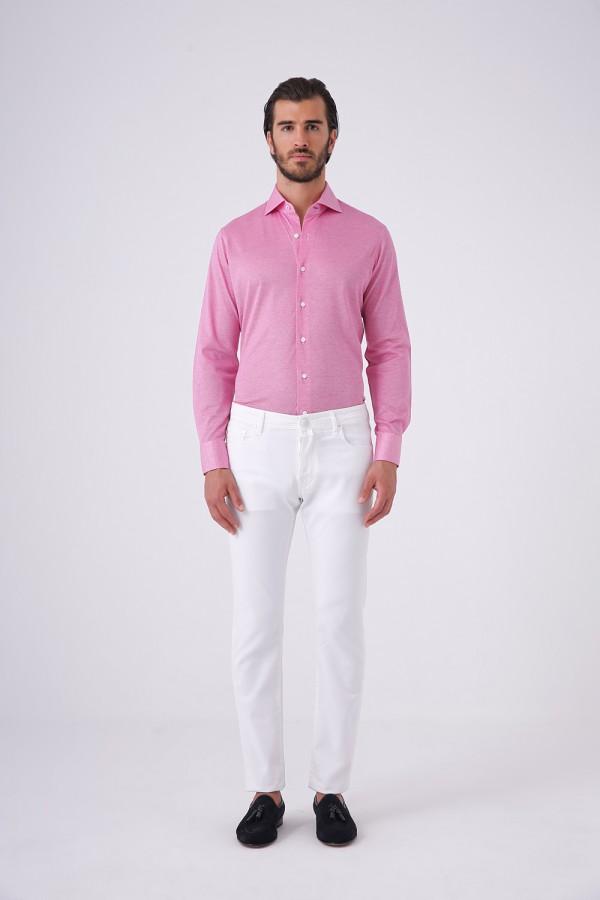 Italyan Yaka Jersey Oxford Doku Gömlek