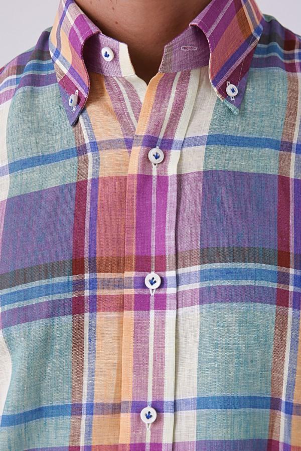 Yaka Düğmeli Ekoseli Gömlek