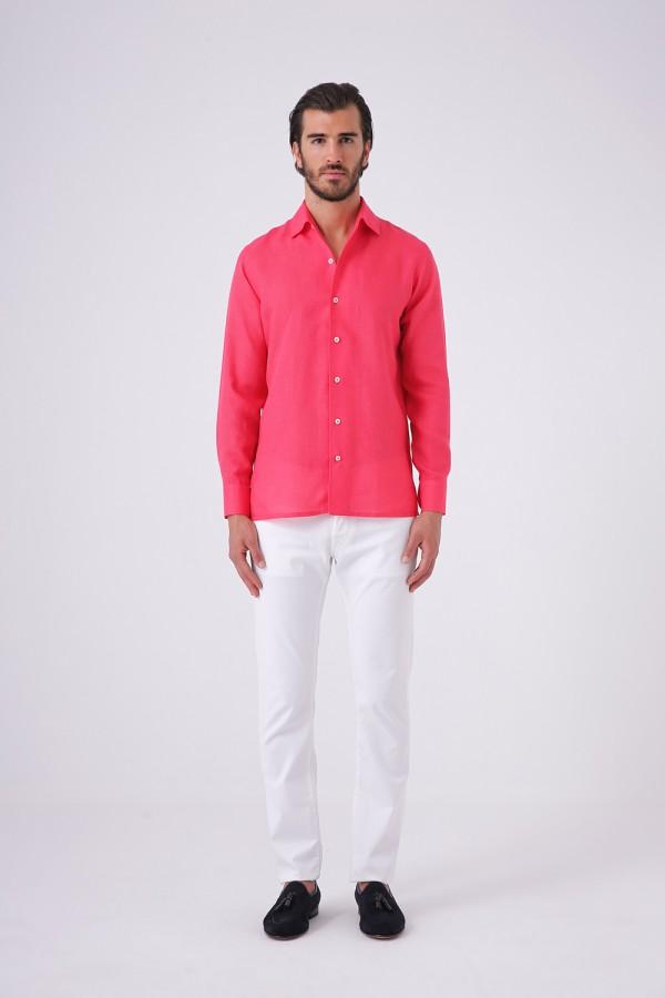 Keten Gömlek Kırmızı